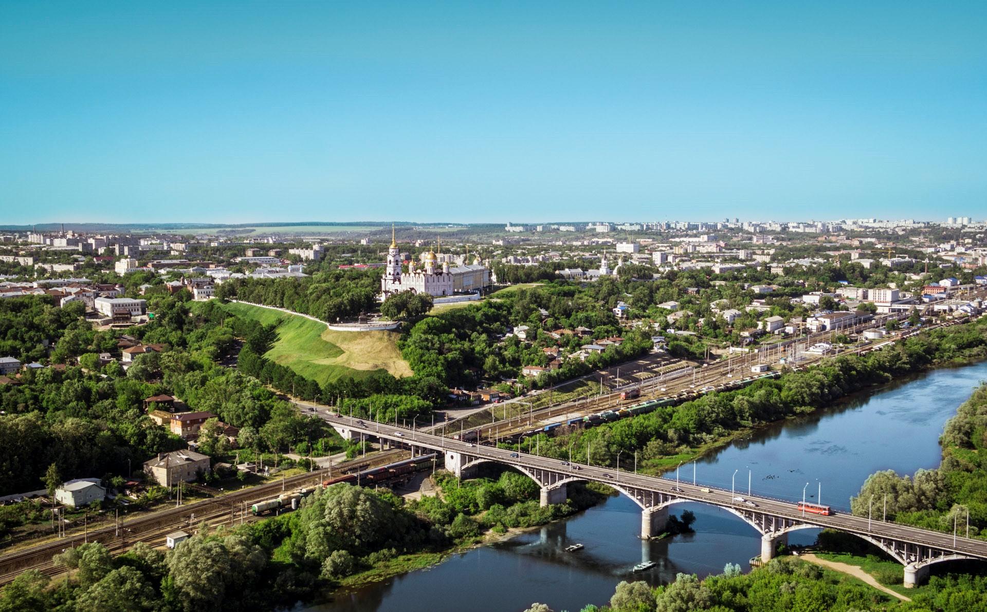 Город-Владимир-с-высоты-птичьего-полета.-Мост-через-Клязьму web