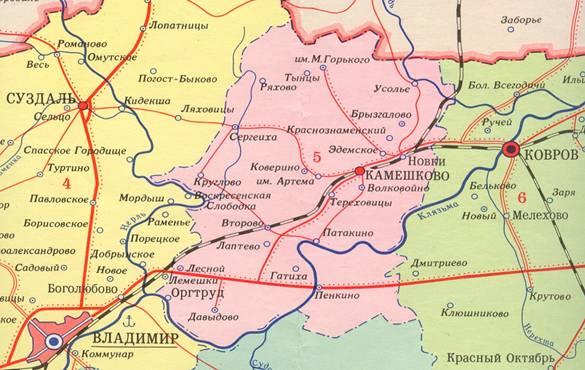 Карта Камешковского района. На севере расположен посёлок им. М. Горького