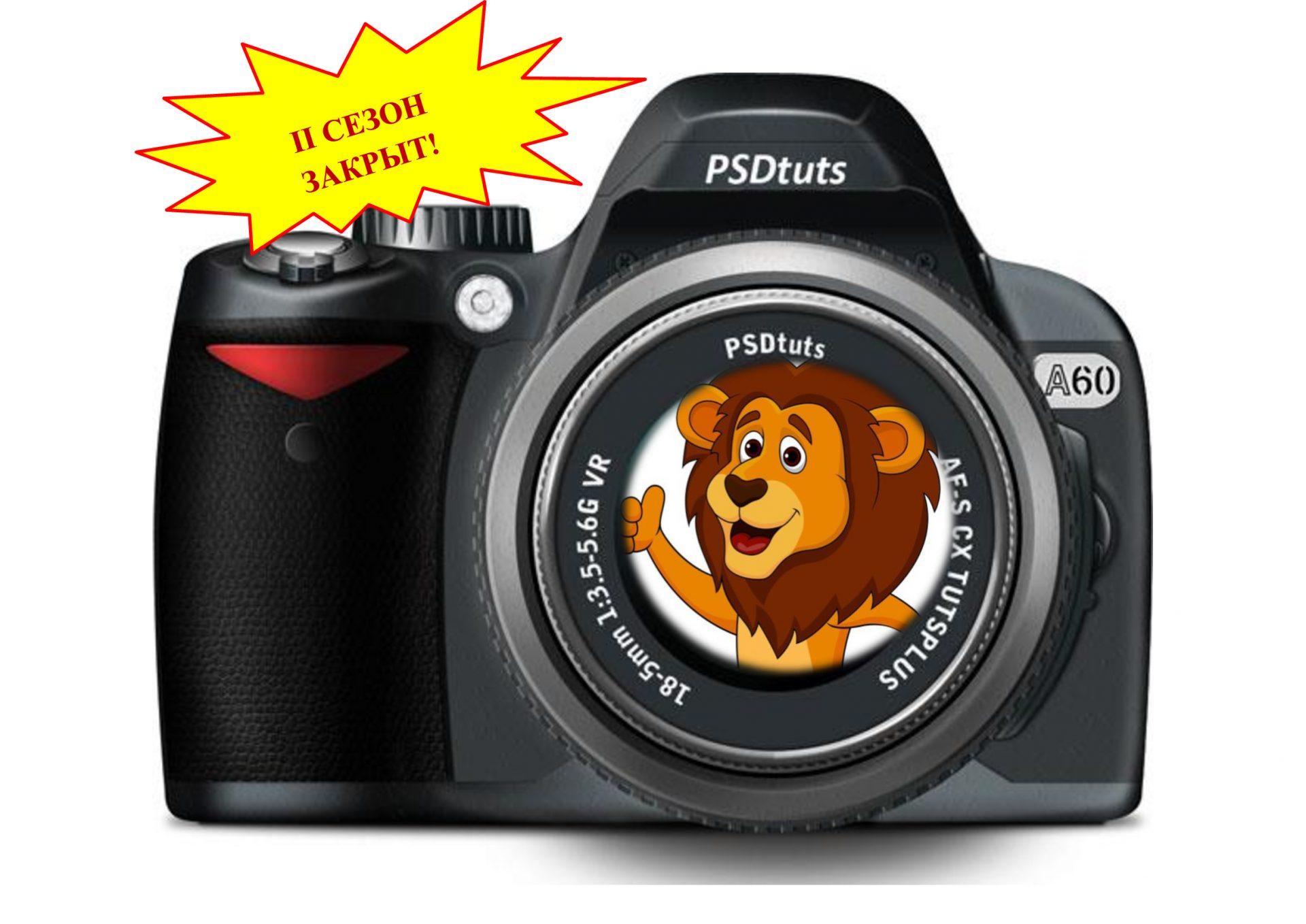 Фотоаппарат, в объективе лев.