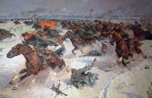 Советская конница в боях под Москвой. Картина П. Кривоногова