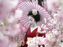 гейша в кимоно и с зонтиком