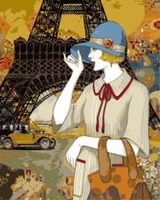 француженка в шляпке на фоне эйфелевой башни