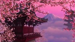 японский дом, горы и сакура