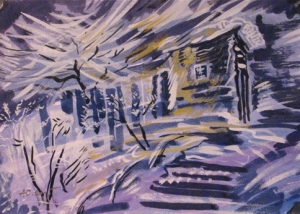 Зимний пейзаж с изображение деревенского дома, деревьев