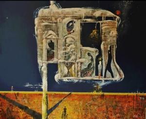 Абсрактная картина, изображающая фигуры людей в окнах, проходах, в храме