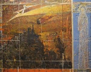 На абстракном фоне изображен стоящий в стороне святой