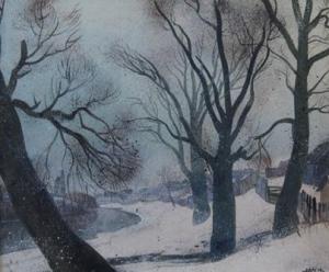 Зимний пейзаж с изображение деревьев, речки, деревенского забора