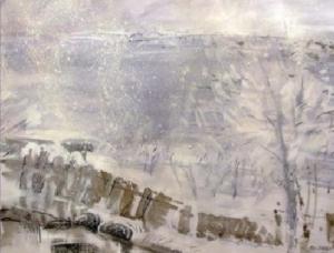 На картине изображены деревянный забор и дерево