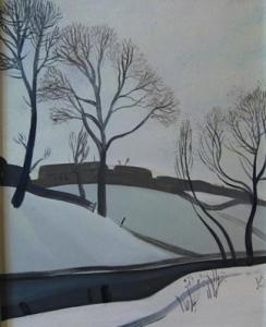 Изображен берег речки, деревья и силуэты домов