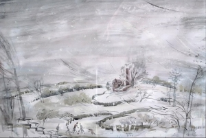 Зимний деревенский пейзаж с изображением детей, катающихся на коньках