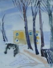 Зимний пейзаж с изображением деревьев и стеной дома