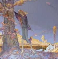 Изображена девушка, опирающаяся на дерево