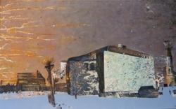 Изображен кирпичный дом на фоне вечернего зимнего неба