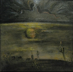 На фоне ночного неба изображены два змия, смотрящие друг на друга