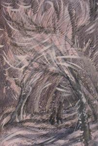 Изображена зимняя аллея, деревья