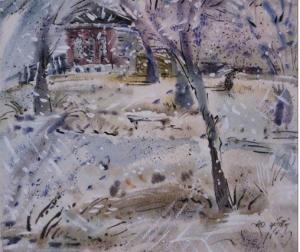 На картине зимний пейзаж: деревенский домик, занесенный снегом