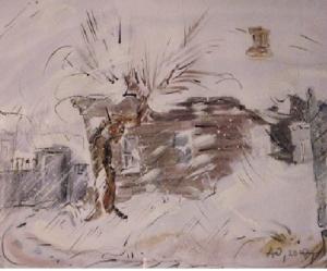 На картине зимний деревенский пейзаж с домом и деревом