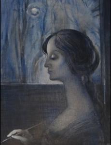 На фоне ночного окна изображен женский профиль
