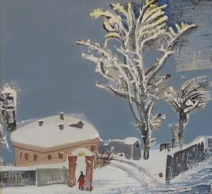 Зимний городской пейзаж с изображением старого дома, забора, дерева и фигуры человека в проёме калитки