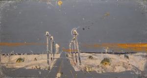На картине изображена зимняя дорога, вдоль которой стоят электрические фонари