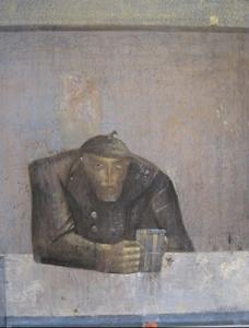 Изображен сидящий за столом старый человек и жержит в руке кружку пива, за правм плечом изображен ангел