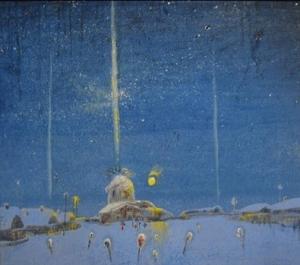 Зимний деревенский пейзаж, изображены дома, церковь и звездное небо