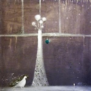Изображен белый свет, идущий к небу и белый голубь