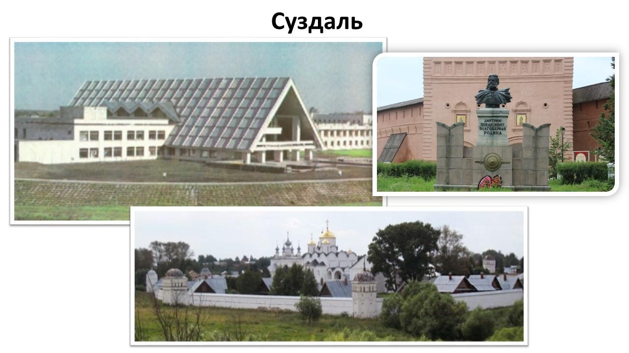 Строительство ГТК в Суздале, открытие памятника Пожарскому, благоустройство Покровского монастыря