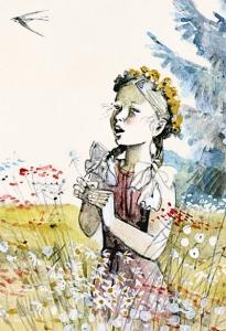 Девочка на лугу с букетом полевых цветов.