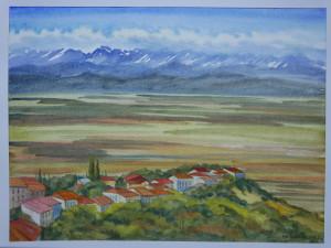 Акварель Горная долина