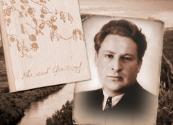 Портрет Алексея Фатьянова и обложка первого сборника стихов