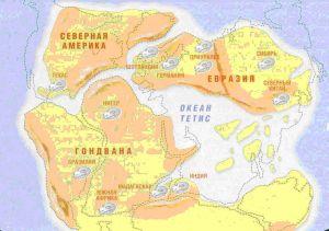 Изображение океана Тетис на карте