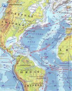 Изображение Саргассова моря на карте