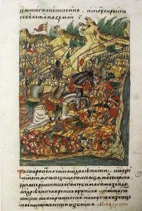 Миниатюра с изображением Куликовской битвы из Лицевого свода. XV век
