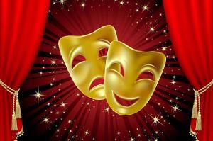 театральные маски с занавесом