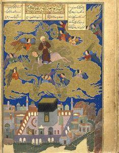 Миниатюра из рукописи Хамсе, датированная 1494 г., изображающая восхождение Пророка Мухаммеда на Бураке из Мекки на небеса