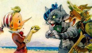 Буратино, Кот Базилио и Лиса Алиса. Рисунок из книги.