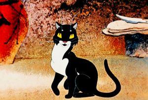 """Кадр из мультфильма """"Кот, который гулял сам по себе"""". Кот в пещере"""