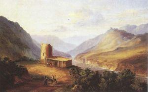 """Картина М. Ю. Лермонтова """"Военно-Грузинская дорога близ Мцхеты"""", 1837 г."""