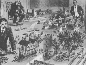 Литография, где Г. Уэллс, М. Горький и И. Бунин играют в солдатики