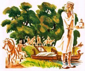 юноша держит макет храма