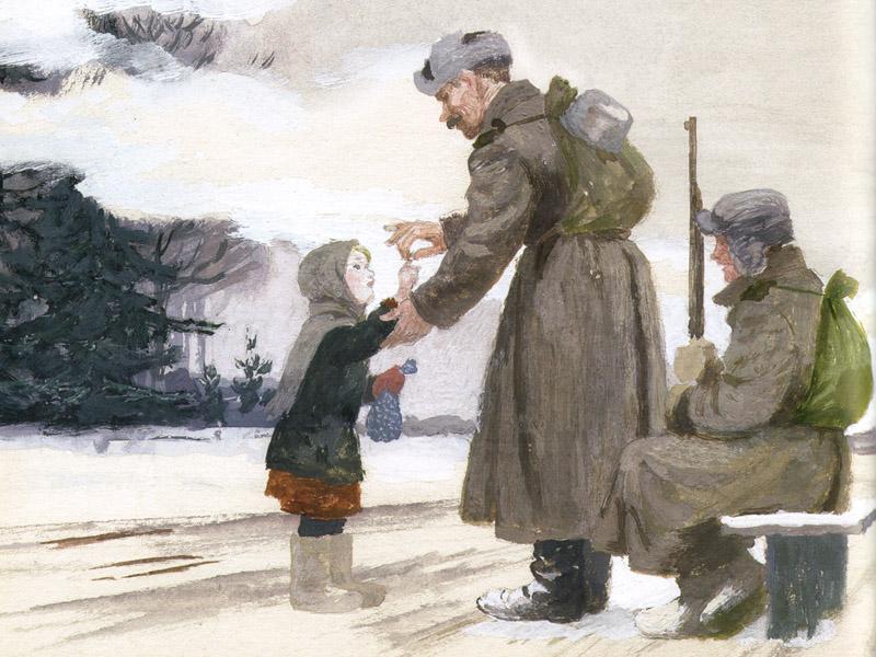Главная героиня Варюшка встречает солдат, котрые дают ей стальное колечко.