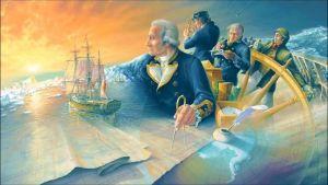 Изображены путешественники на фоне моря