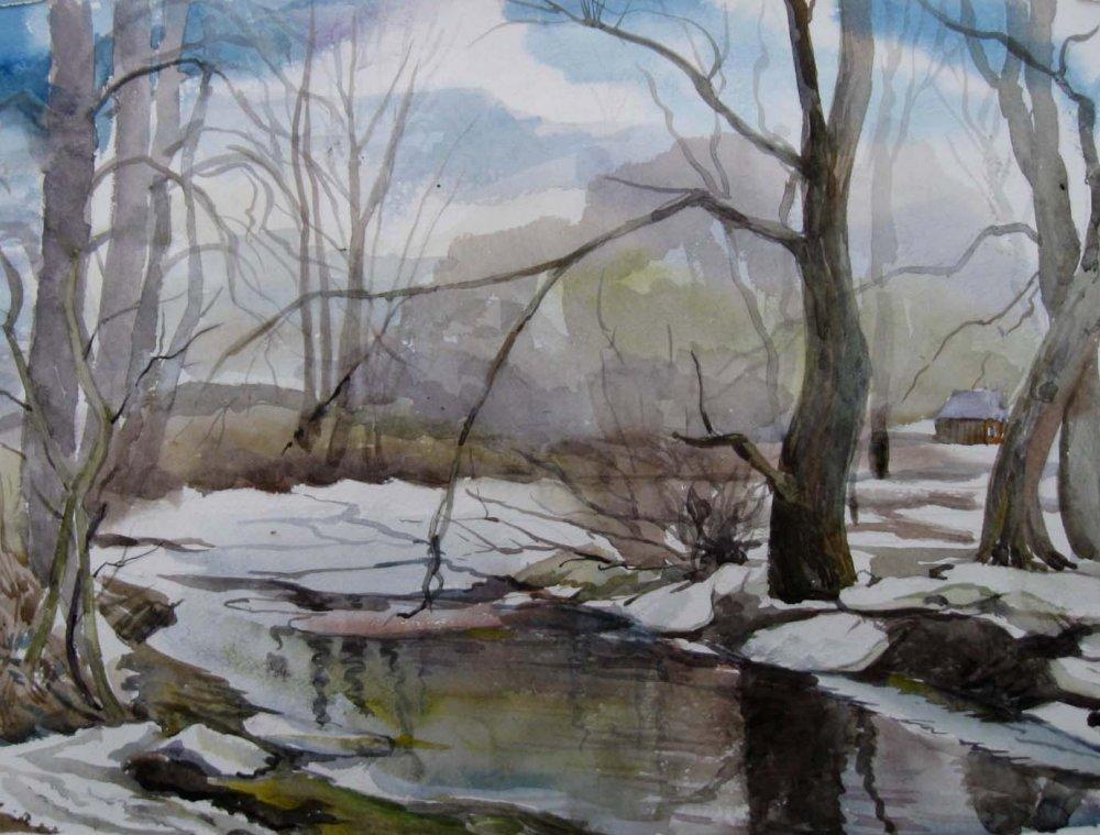 Рисунок талая вода в лесу.