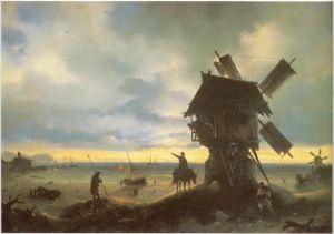 Картина И. К. Айвазовского «Ветряная мельница на берегу моря»