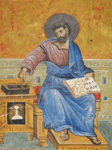 Евангелист Лука. Византийская миниатюра. Лука изображен в виде византийского ученого, занятого перепиской книги. На Луке - хитон (длинная туника) и гиматий (плащ). На коленях святого лежит книга, рядом стоит подставка с чернильницей.