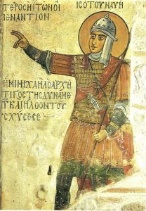 Иисус Навин в образе византийского воина в ламеллярном доспехе, шлеме и с копьем.