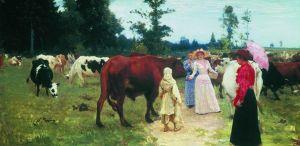 Картина И. Е. Репина «Барышни среди стада коров»