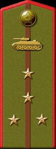 Род войск - Бронетанковые войска Воинское звание - Инженер-капитан. На погоне центральная полоса, размещены четыре небольшие звезды: две на полосе, две - по бокам, над звездами, в верхней части погона изображение танка.