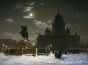 Картина В. И. Сурикова «Вид памятника Петру I на Сенатской площади в Санкт-Петербурге»